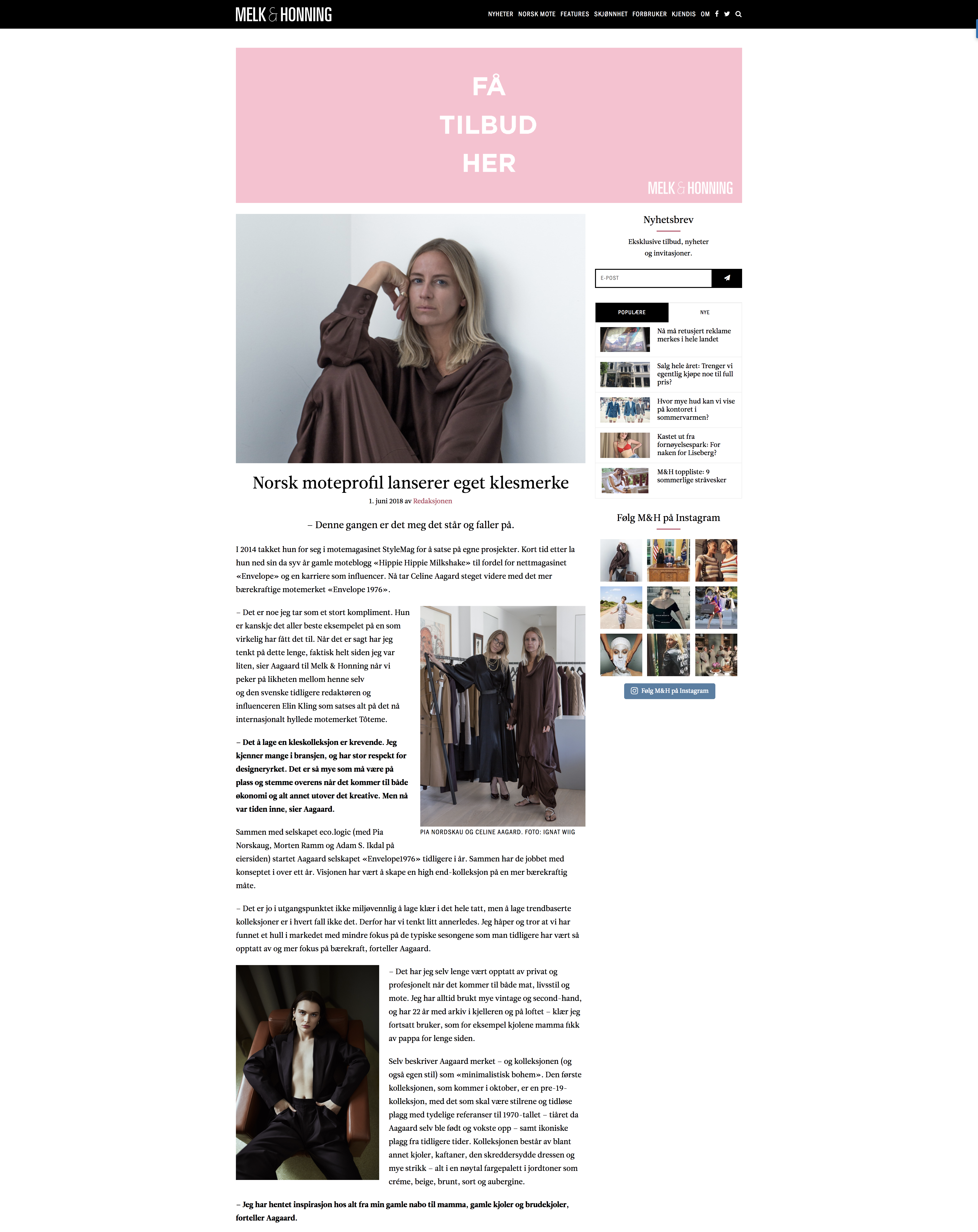 5c64cd1d Melkoghonning – Norwegian fashion profile launches own clothing brand