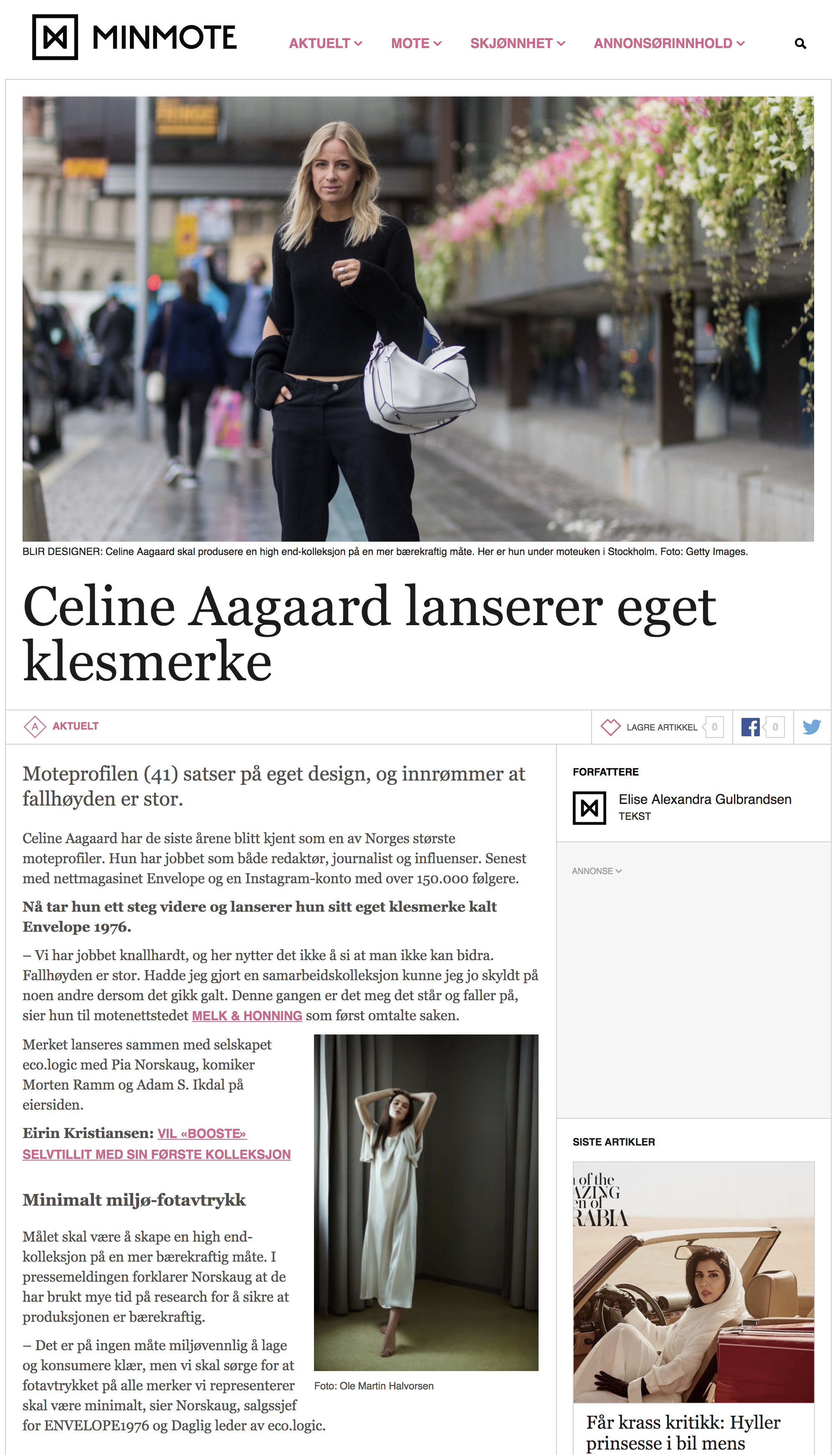 b40d9395 Minmote - Celine Aagaard launches her own clothing brand - eco.logic ...